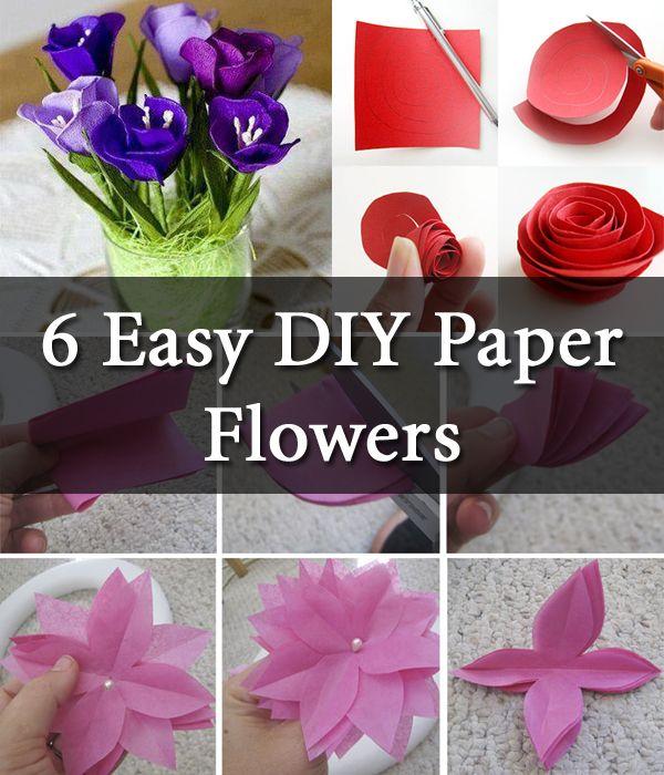 6 Easy Diy Paper Flowers Diy Creative Ideas Flower Crafts
