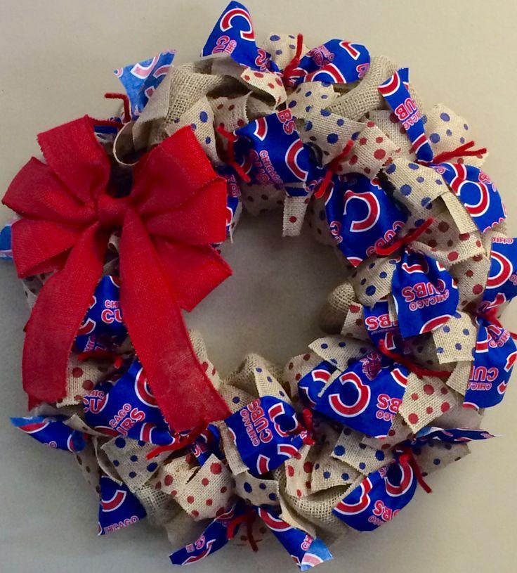 Chicago Cubs Baseball Wreath Burlap by CustomDecorAndGifts on Etsy