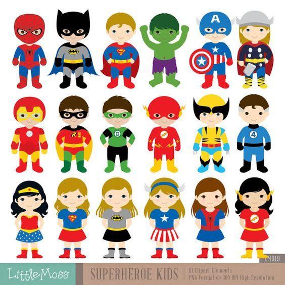 18 superhéroes caracteres Digital Imágenes Prediseñadas, imágenes prediseñadas de superhéroe, superhéroes niños, Clipart de Superman, Batman Imágenes Prediseñadas, imágenes prediseñadas de Spiderman