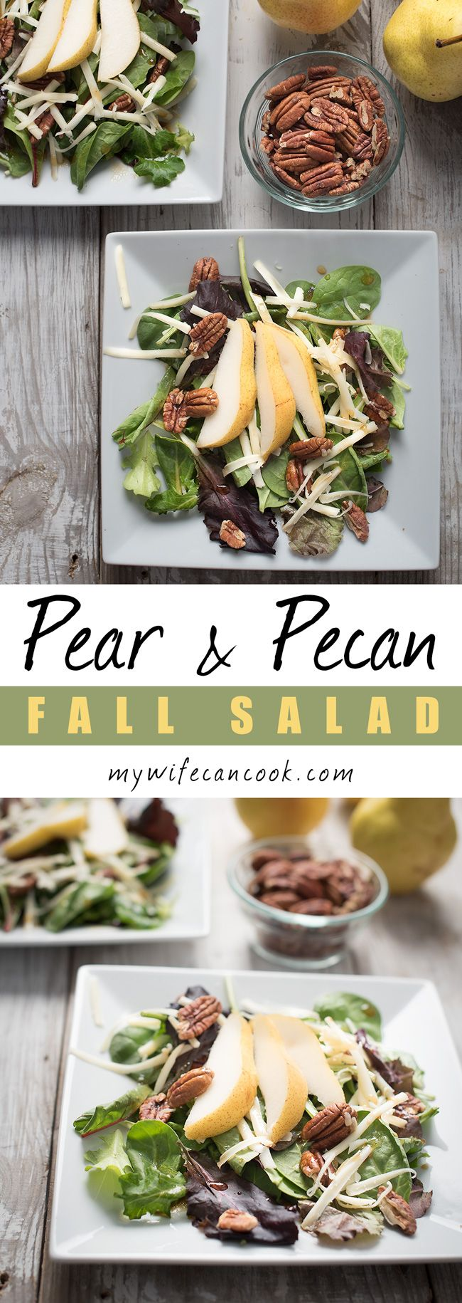This Toasted Pecan and Pear Salad with white cheddar cheese tops our favorite pear recipes and is one of our favorite fall salads. We also never turn down anything with toasted pecans...such a great flavor and a great addition to so many salads and dishes. So, if you're looking for the perfect fall salad or the perfect use for pecans, look no further! We also absolutely love the pairing of pears and white cheddar cheese...they go together so well and our magical on this salad.