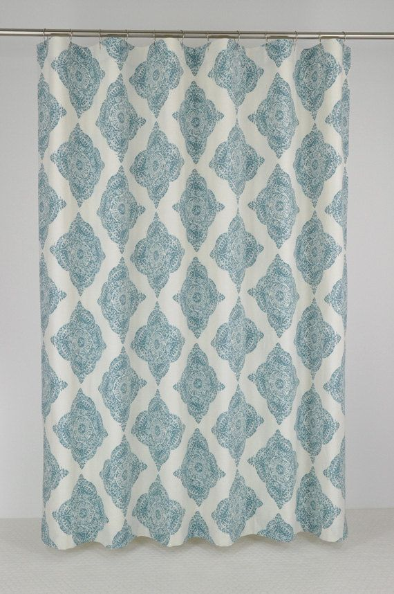 aqua medallion shower curtain extra long 72 wide x 72