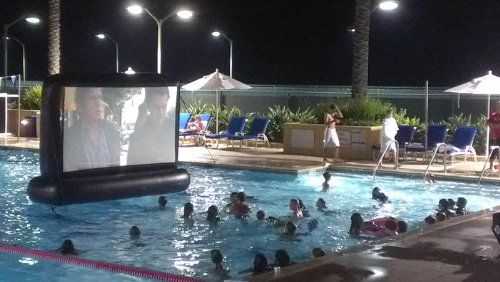 7' Backyard Pool Inflatable Movie Screen - Want this!