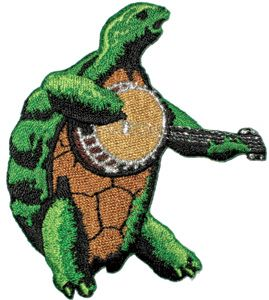 "Grateful Dead - Terrapin Banjo Patch - $4.99  Cool Grateful Dead Terrapin Turtle playing the banjo. Embroidered patches can be ironed on or sewn on.  Officially licensed Grateful Dead merchandise. Approx. Size 2.5"" x 3.25"""