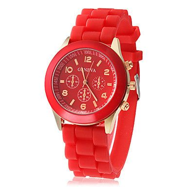 Red Swiss Silicone Wrist Watch Highly Fashionable