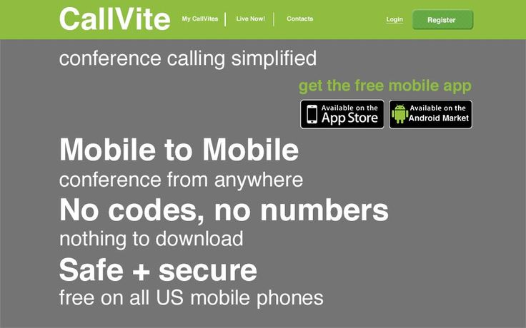 Index for CallVite - conference calling app / desktop view