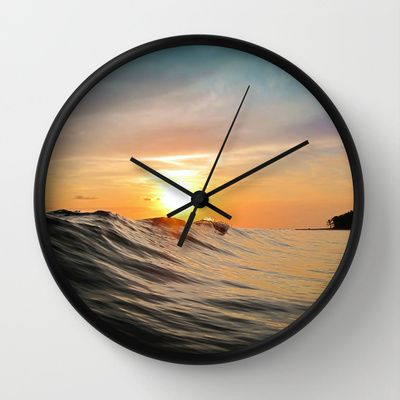 Sunset in Paradise Wallclock #sunset #paradise #waves #ocean #sea #skyscape