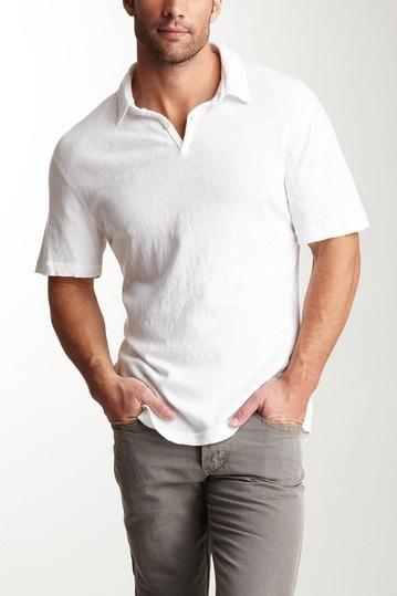 James Perse Men Slub Pique Polo Shirt