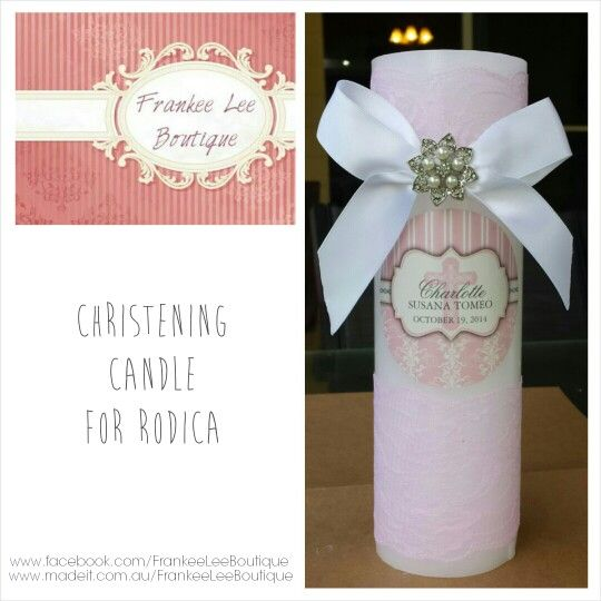 Christening baptism candle pink lace pearl embellishment crucifix cross www.facebook.com/FrankeeLeeBoutique www.madeit.com.au/FrankeeLeeBoutique