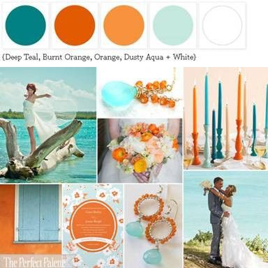 shades of mango, burnt orange and light blue. not feeling the dark teal