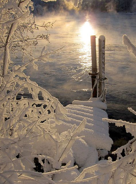 sunrise on a cold winter's day
