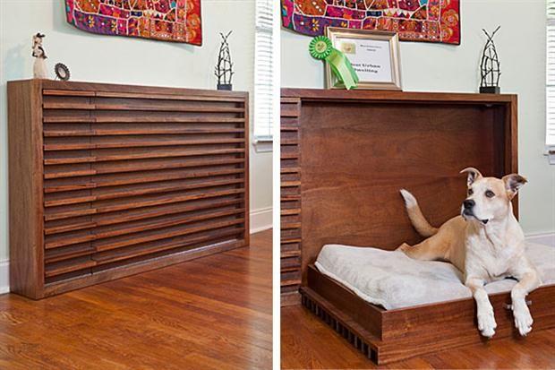 Objetos locos: camas para mascotas  Un mueble de madera que se convierte en cucha de perro, ideal para cuando no hay mucho espacio en la casa. Foto: Bemlegaus.com