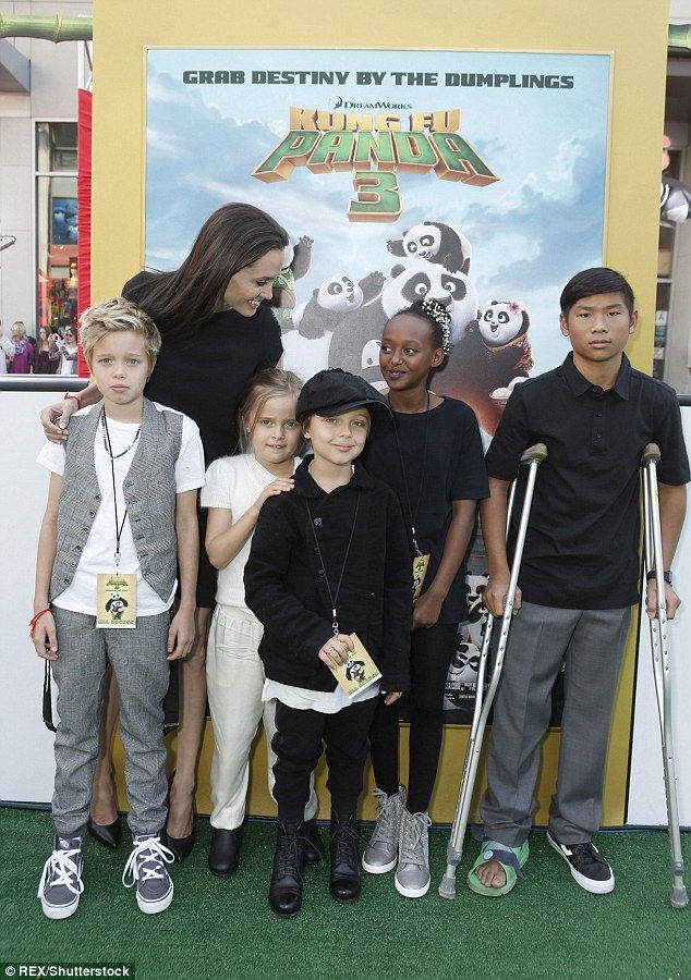 Big family: Angelina with children, from left, Shiloh, Vivienne, Knox, Zahara and Pax at the LA premiere of her film Kung Fu Panda 3 in January
