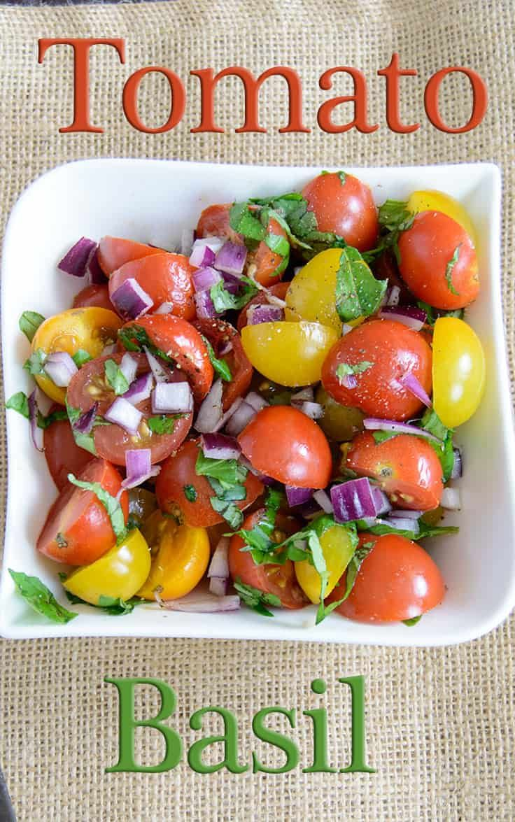 This fresh tomato basil salad is the perfect light summer meals! This recipe is low fat, vegan, paleo and whole30 approved!   bitesofwellness.com #whole30 #vegan #lowfat