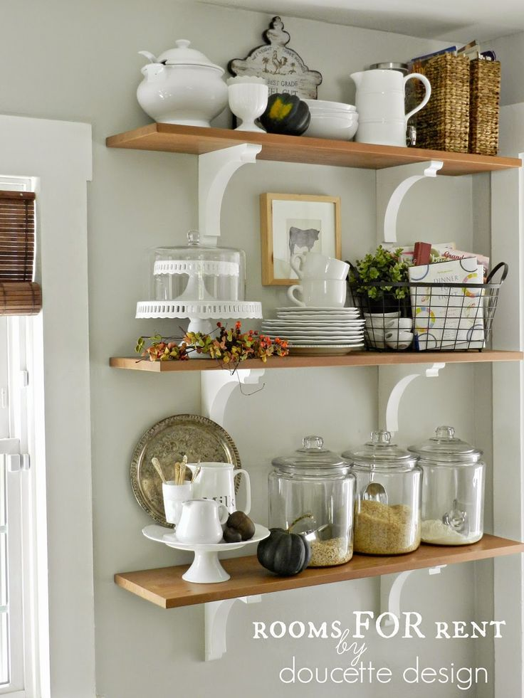 open shelves in the kitchen grey owl by benjamin moore - Kitchen Shelves Decorating Ideas
