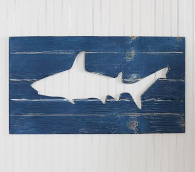Navy Shark Wood Plaque #pbkids For Grae's room