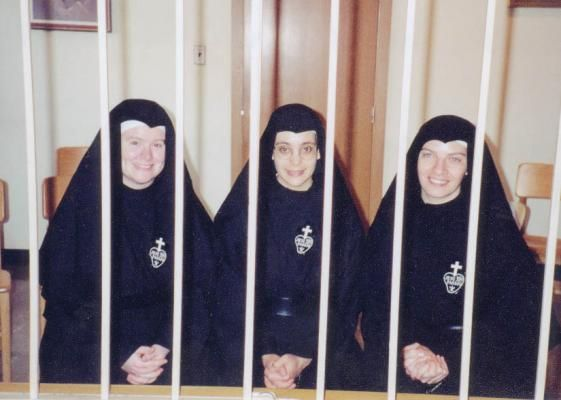Passionists Sisters in visiting parlor – sister Marie Michelle Dziubela, right.