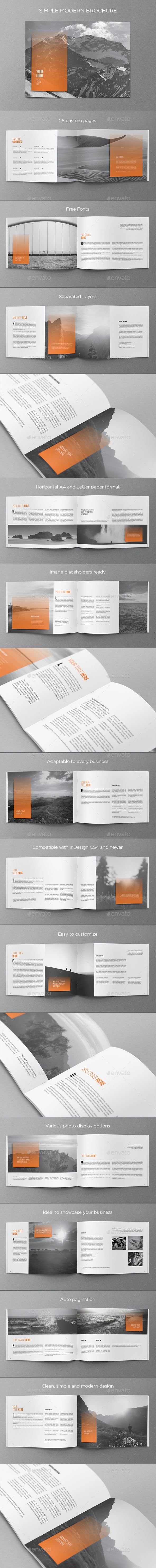 Simple Modern Brochure  #letter #minimal #modern • Available here → http://graphicriver.net/item/simple-modern-brochure/15604676?ref=pxcr