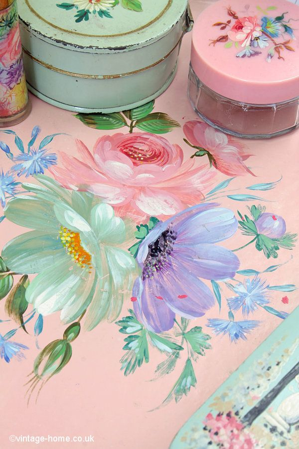 Vintage Home Shop - Pretty 1930s Hand Painted Floral Vanity Tray: www.vintage-home.co.uk