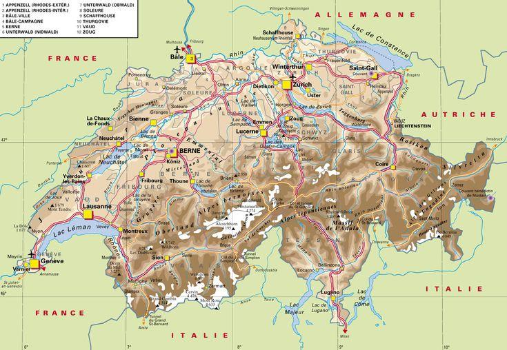 Cantons of Switzerland | Carte Suisse, histoire, patrimoine, documents en ligne LEXILOGOS >>