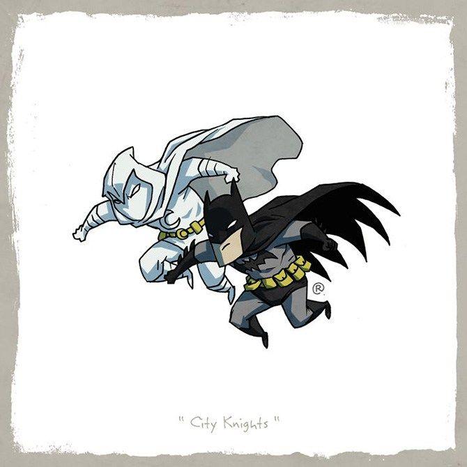 Artista Darren Rawlings coloca heróis semelhantes da DC e Marvel lado a lado como os melhores amigos.