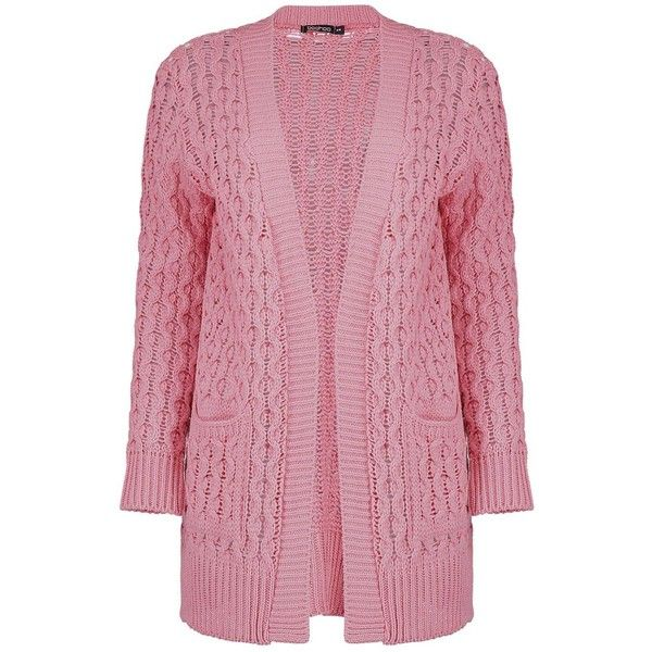 Boohoo Leah Cable Cardigan With Pockets | Boohoo ($30) ❤ liked on Polyvore featuring tops, cardigans, pink cable knit cardigan, neon tops, batwing tops, pocket cardigan and cable cardigan
