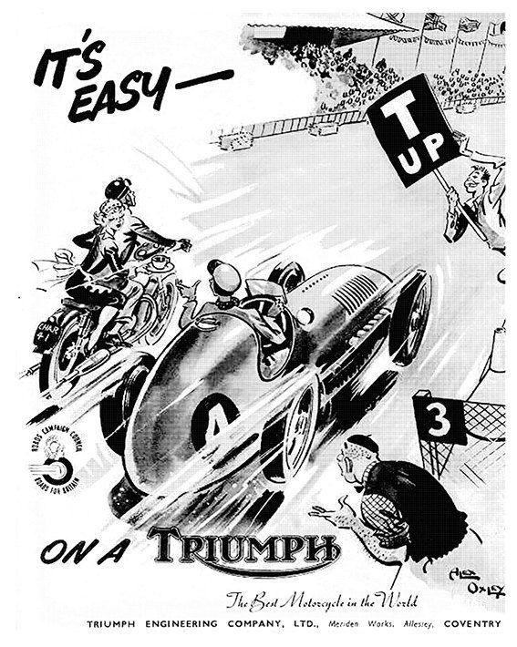 Affiche TRIUMPH BONNEVILLE 1954 Garage par frenchprintorama