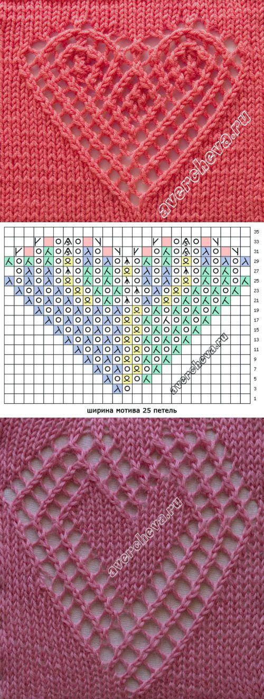 узор 486 ажурное сердечко   каталог вязаных спицами узоров