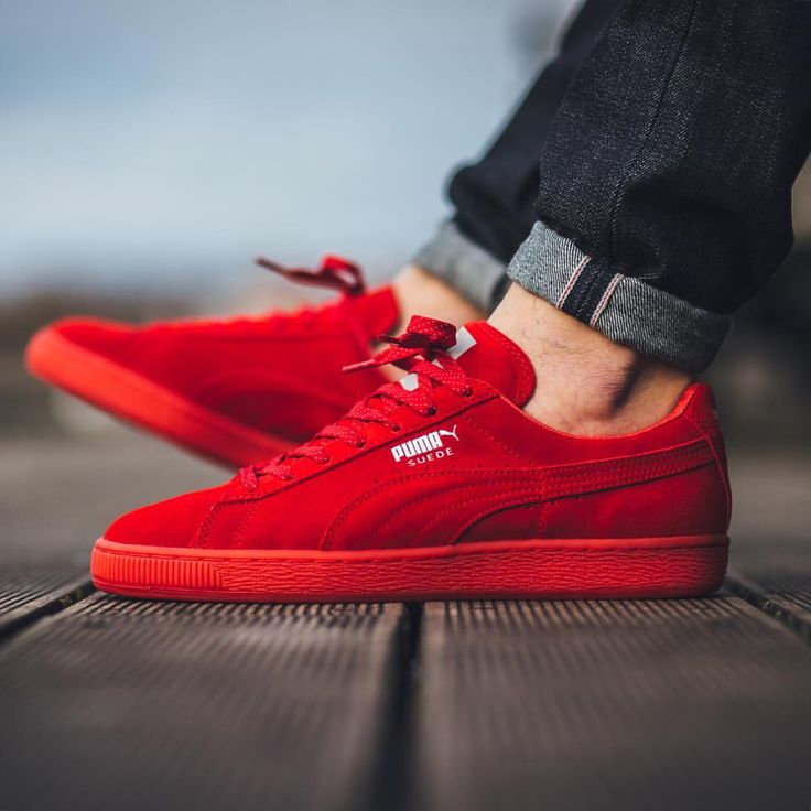 Puma Suede Classic Mono Ref Iced - High Risk Red-Puma Silver available now in-store and online @titoloshop Berne | Zurich US 4.5 (36.5) - US 11.5 (45)""
