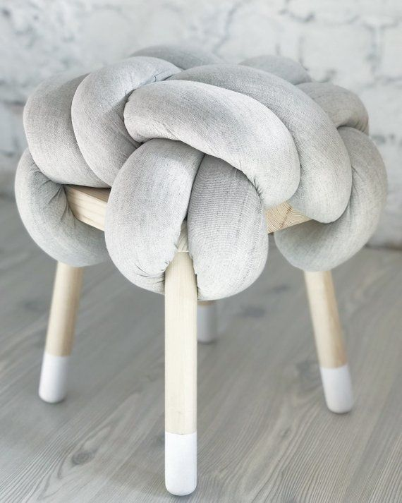 Knot Linen Stool Wooden Chair With Linen Padding Knot Pillow Etsy Almofadas Pufe Ideias