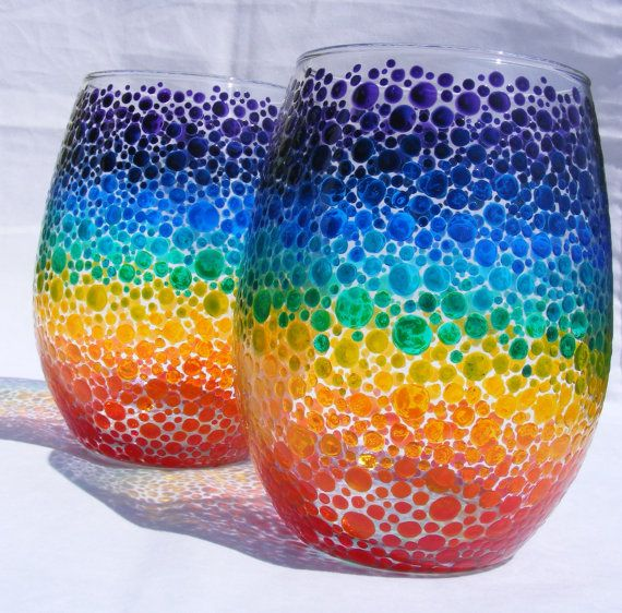 "rainbow bubbles hand painted glass wine ""tumblers""/candle holders"