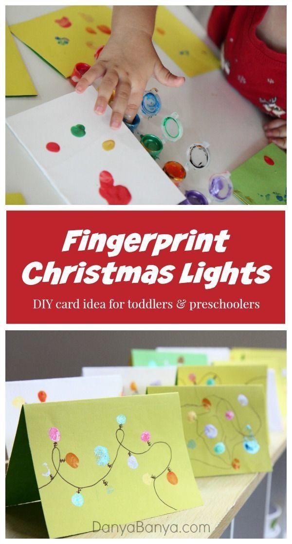 Easy homemade Christmas cards featuring a string of toddler and preschooler fingerprint Christmas lights. ~ Danya Banya