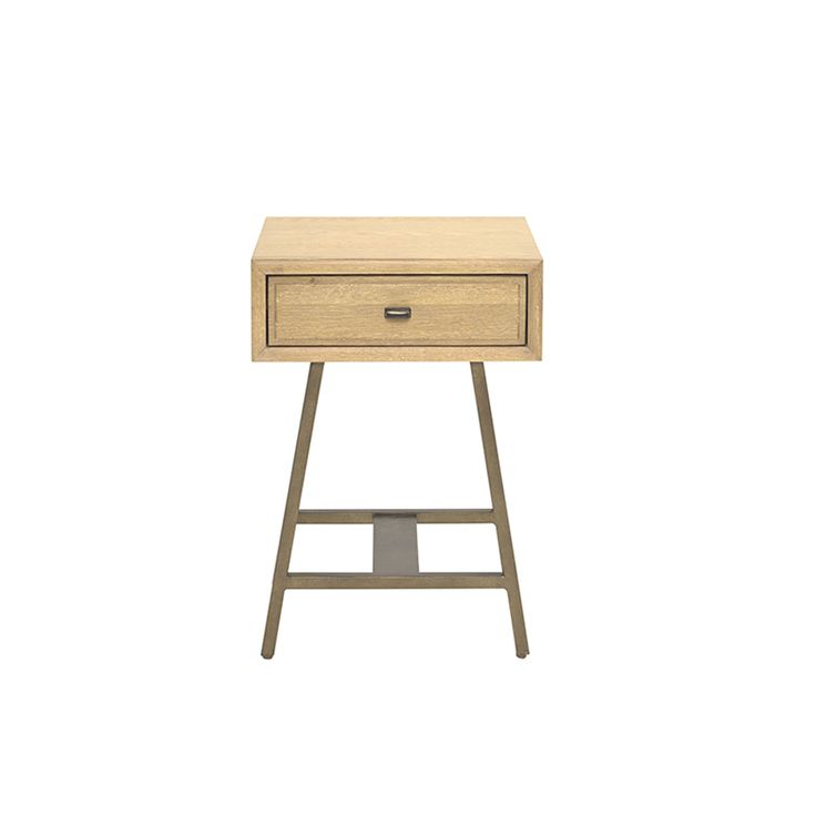 Inspired by a 1940s sideboard we saw in a Parisian market. The oak goes through a 15-step process to obtain a gorgeous hand-finished texture. With vintage bronze finish metal legs.