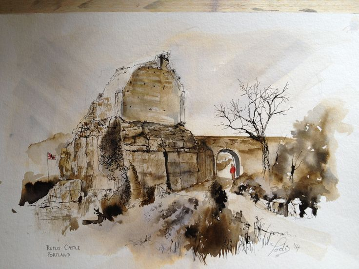 """Remains of Rufus Castle. Portland,Dorset. Painted in Ink and Acrylic.  12"""" x 16"""""""