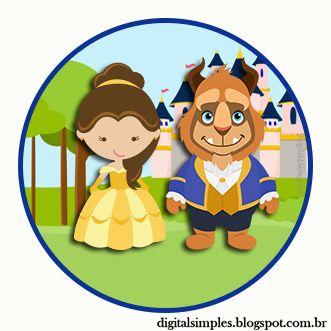 "Kit Custom Theme ""Beauty and the Beast"" for Printing - Invitations Digital…"
