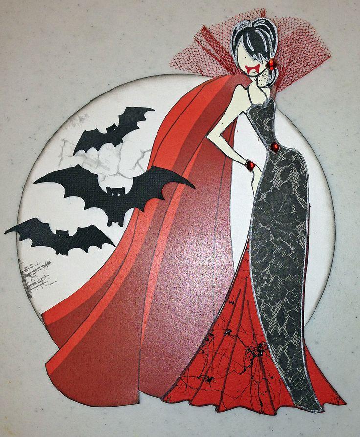 Victoria the Vampire. Created with Prima doll stamps for Treasured Memories, Lafayette, La
