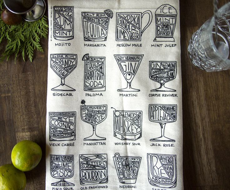 Quite possibly the ultimate bar towel. Sixteen cocktails, complete with diagrammed ingredients. All hand-drawn and printed onto a natural, unbleached cotton tea towel. Machine washable and lint-free flour sack. All you could want and more. Towel measures approximately 27 x 25 inches. Image is