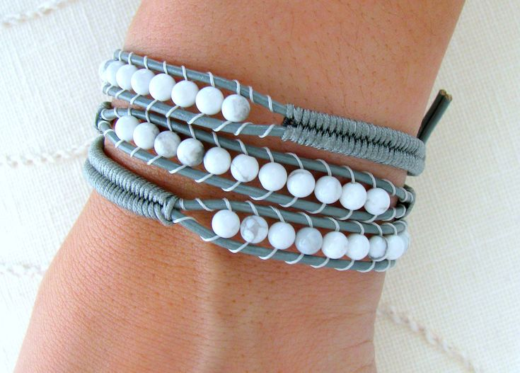 Beaded Leather Wrap Bracelet with Grey Leather, White Howlite Beads and Macrame