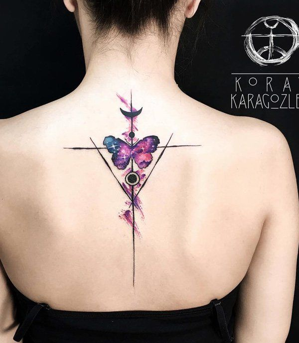 Your spine tattoo doesn't really mean you need a design that will cover up your whole spine. This butterfly tattoo could work as well. Butterflies represent rebirth as well as love and spirituality. No winder movies often depicts souls as butterflies.