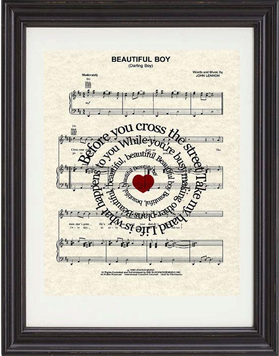 LOVE this song!! Beautiful Boy Song Lyrics Sheet Music Art by TexasGirlDesigns, $15.00