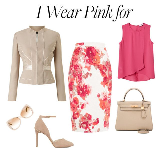 """Pink Flowers"" by borbalastyle on Polyvore featuring MANGO, Damsel in a Dress, Tom Ford, MICHAEL Michael Kors, Hermès, Phase Eight and IWearPinkFor"
