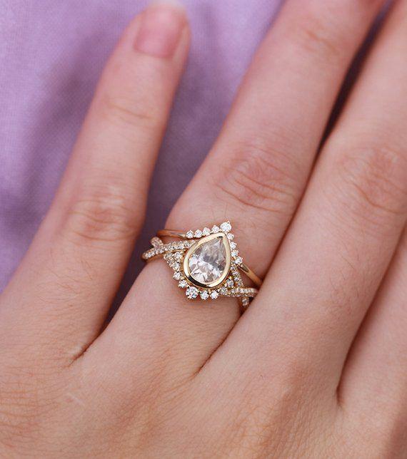 Vintage Moissanite Engagement Ring Set Art Deco Rose Gold Pear