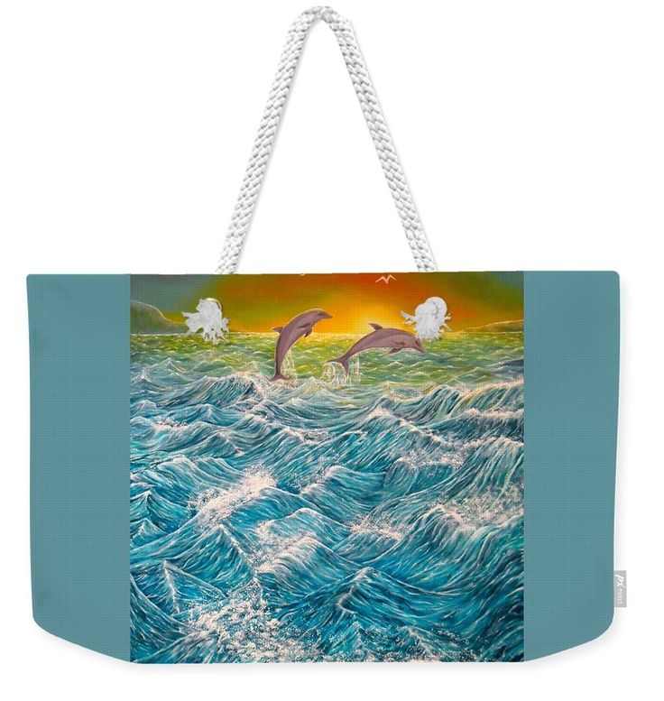 Weekender Tote Bag,  blue,turquoise,cool,beautiful,fancy,unique,trendy,artistic,awesome,fahionable,unusual,accessories,for,sale,design,items,products,gifts,presents,ideas,dolphins,ocean