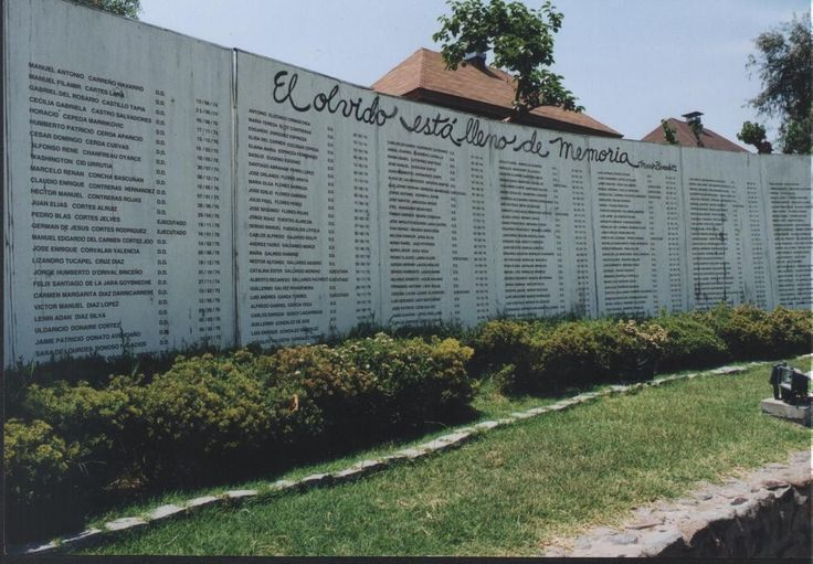 The names of those who were tortured and died at the notorious Villa Grimaldi are inscribed on the site of the building in Santiago, Chile.