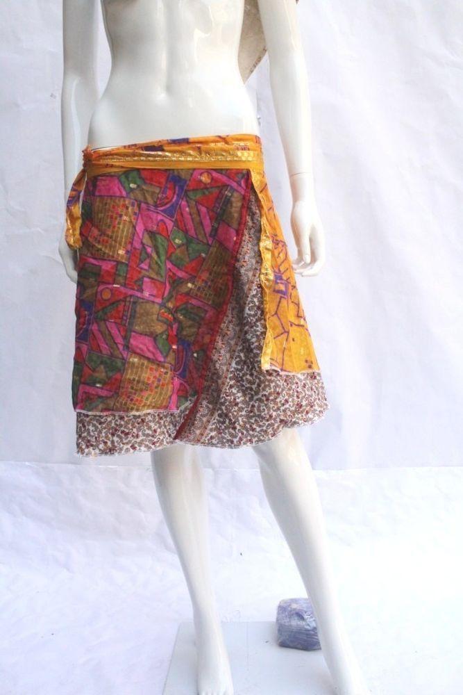 f97dbce1c09 Vintage Silk Sari Skirt Reversible Beach Wear Skirt Hippie Sarong Wrap   SWS86  fashion