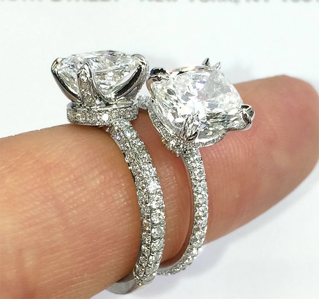 Engagement Ring Band Styles three row pave vs single row