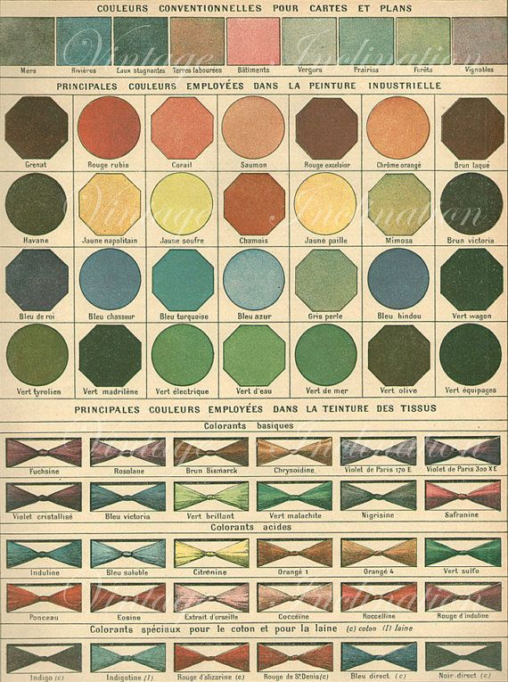 Consider for Color Palette LARGE 1906 FRENCH COLOR Chart green yellow blue red brown Colored Vintage Edwardian antique lithograph print