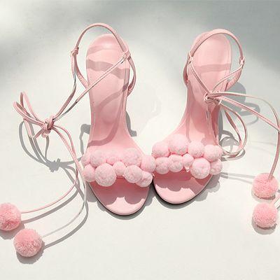 ryeou: chuu, pompom lace-up heels - Miss Zeit