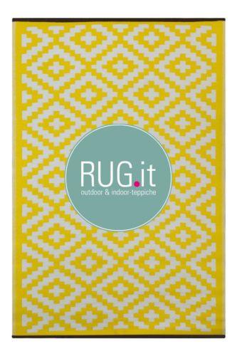 RUG-IT-OUTDOOR-TEPPICH-drinnen-draussen-BALKON-TERRASSE-GARTEN-gelb-weiss-180x270