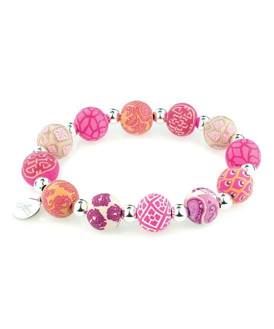 Tea Berry & Silver Ball Stretch Bracelet