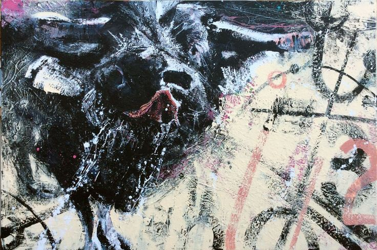 Soc Art abstract acrylic canvas animal Sharon O'Connor Melbourne water buffalo